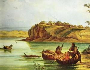 Mandan Bullboats by G. Catlin 6-09-13